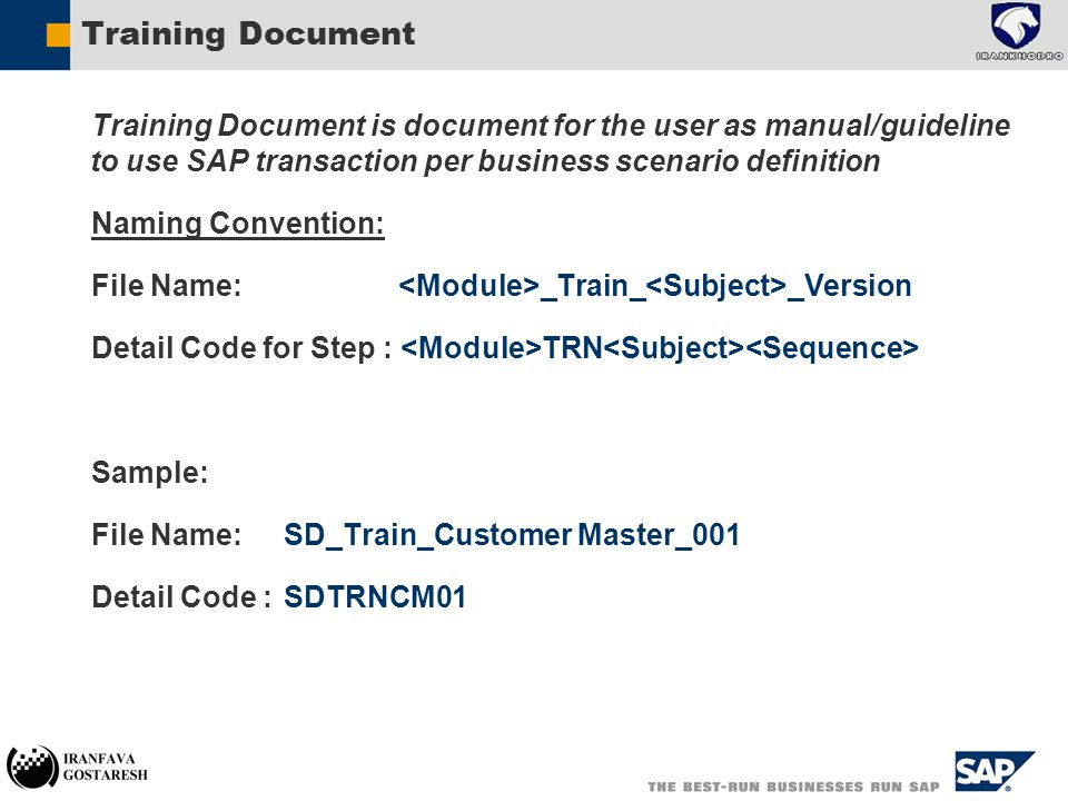 Training Document  Training Document is document for the user as manual/guideline to use SAP transaction per business scenario definition  Naming Convention:  File Name: _Train_ _Version  Detail Code for Step : TRN  Sample:  File Name: SD_Train_Customer Master_001  Detail Code : SDTRNCM01