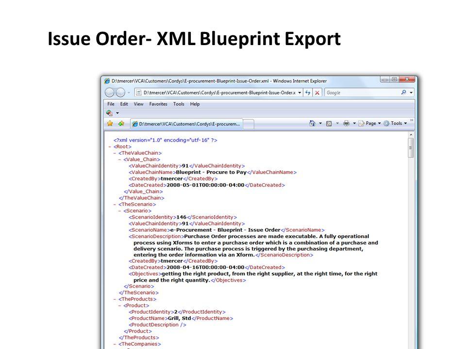 Issue Order- XML Blueprint Export