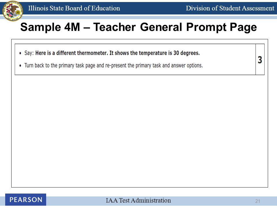 Division of Student Assessment IAA Test Administration Illinois State Board of Education Sample 4M – Teacher General Prompt Page 21