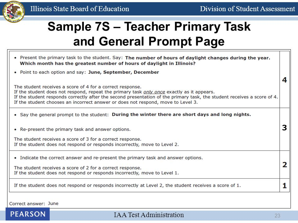 Division of Student Assessment IAA Test Administration Illinois State Board of Education Sample 7S – Teacher Primary Task and General Prompt Page 3 23
