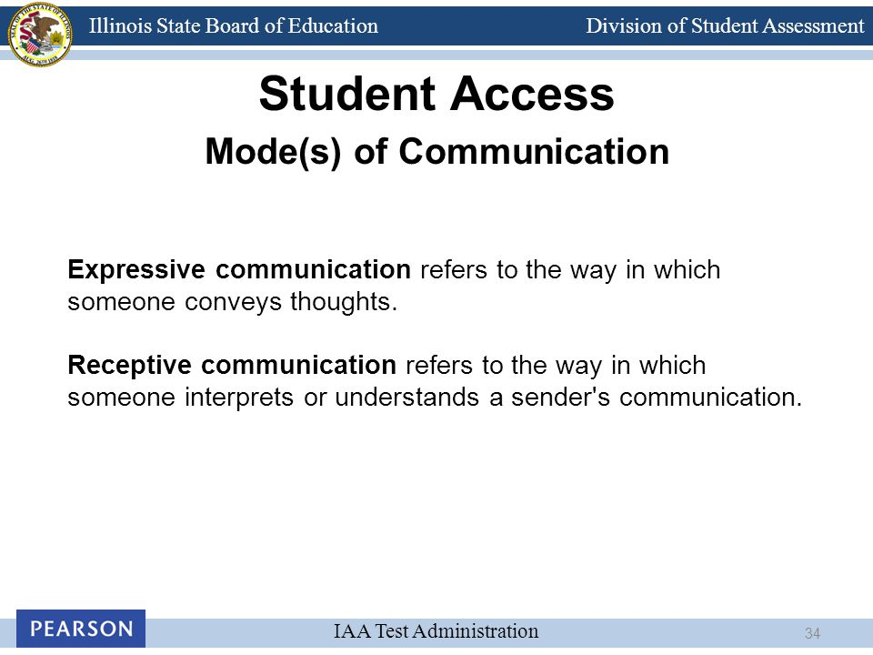 Division of Student Assessment IAA Test Administration Illinois State Board of Education Student Access Mode(s) of Communication Expressive communicat