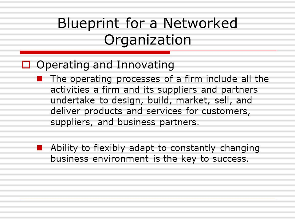 Blueprint for a Networked Organization  Operating and Innovating The operating processes of a firm include all the activities a firm and its suppliers and partners undertake to design, build, market, sell, and deliver products and services for customers, suppliers, and business partners.