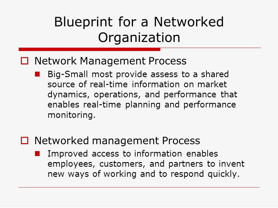 Blueprint for a Networked Organization  Network Management Process Big-Small most provide assess to a shared source of real-time information on market dynamics, operations, and performance that enables real-time planning and performance monitoring.