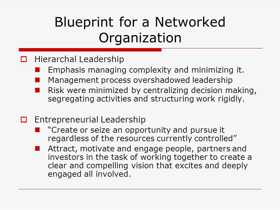 Blueprint for a Networked Organization  Hierarchal Leadership Emphasis managing complexity and minimizing it.
