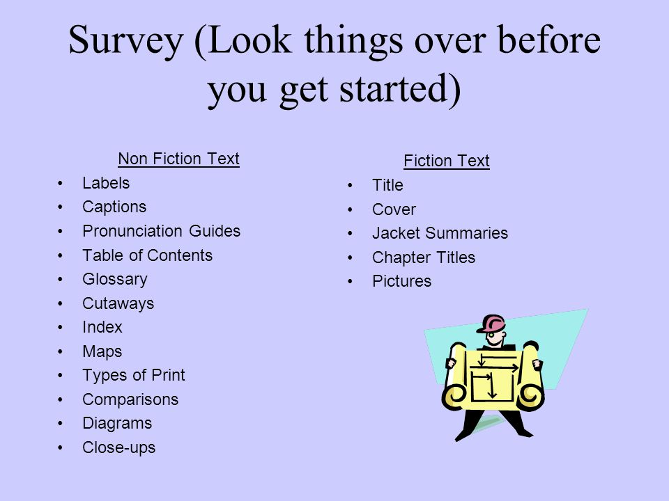 Survey (Look things over before you get started) Non Fiction Text Labels Captions Pronunciation Guides Table of Contents Glossary Cutaways Index Maps Types of Print Comparisons Diagrams Close-ups Fiction Text Title Cover Jacket Summaries Chapter Titles Pictures