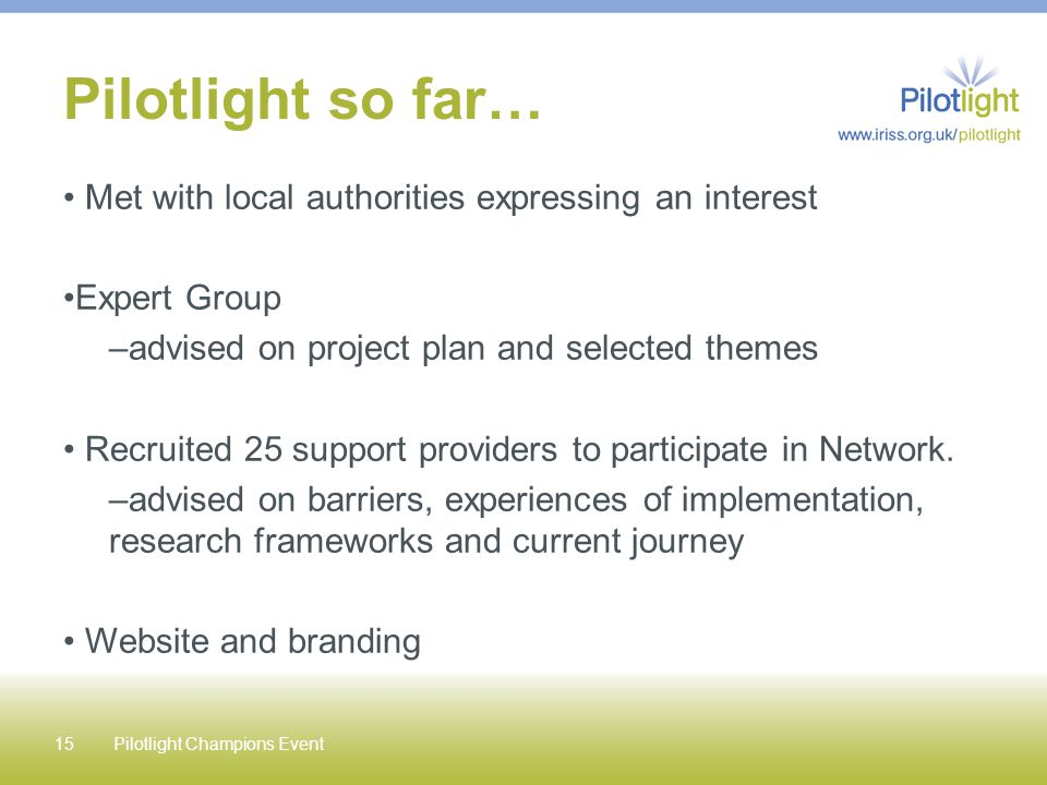 Pilotlight so far… Met with local authorities expressing an interest Expert Group –advised on project plan and selected themes Recruited 25 support pr