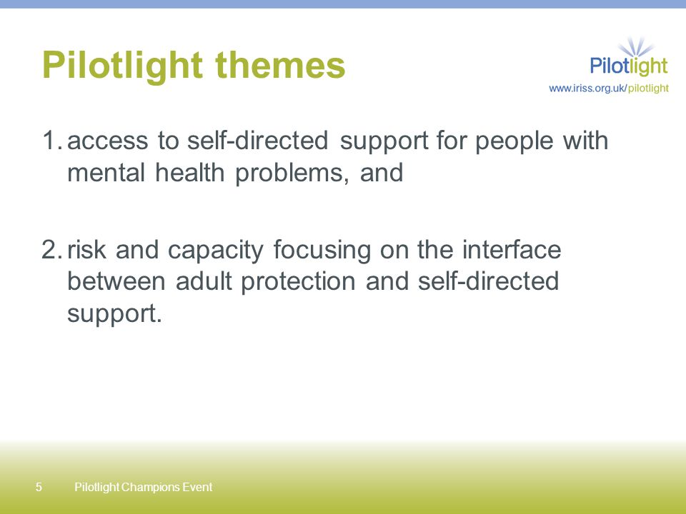 Pilotlight themes 1.access to self-directed support for people with mental health problems, and 2.risk and capacity focusing on the interface between