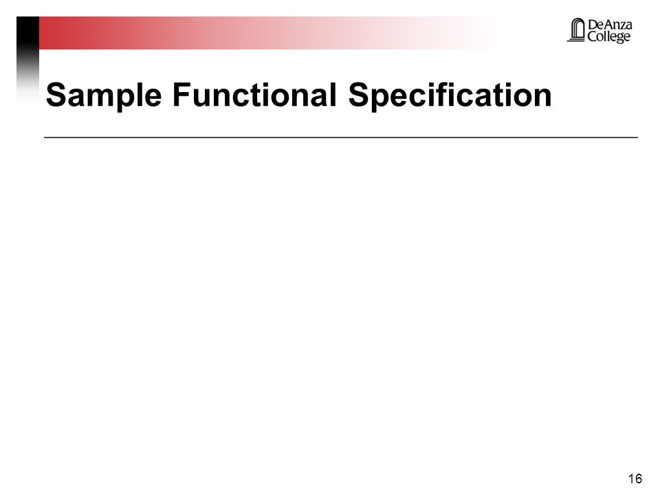 Sample Functional Specification 16