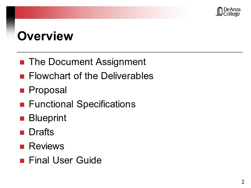 Overview The Document Assignment Flowchart of the Deliverables Proposal Functional Specifications Blueprint Drafts Reviews Final User Guide 3