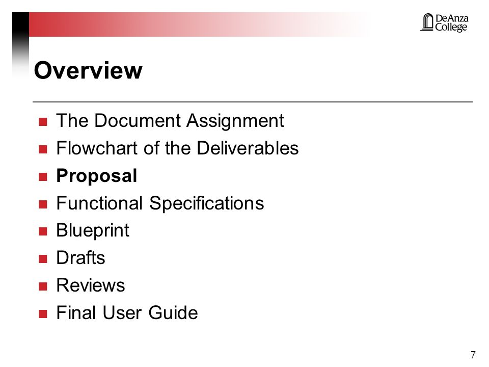 Overview The Document Assignment Flowchart of the Deliverables Proposal Functional Specifications Blueprint Drafts Reviews Final User Guide 28
