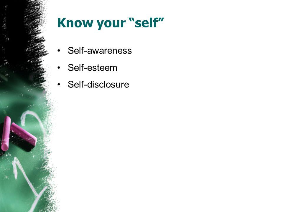 "Know your ""self"" Self-awareness Self-esteem Self-disclosure"