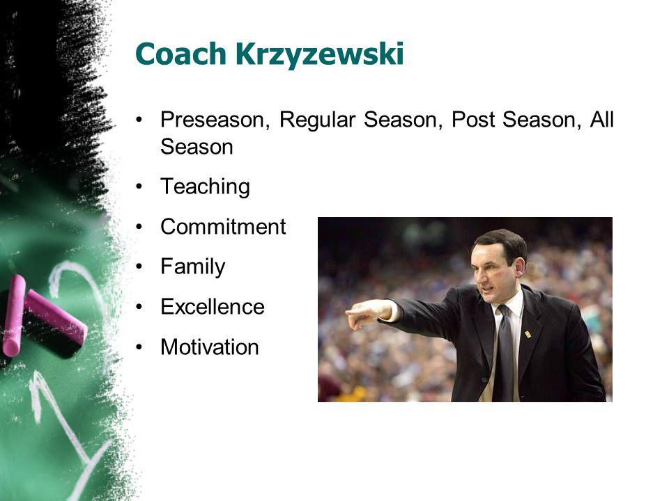 Coach Krzyzewski Preseason, Regular Season, Post Season, All Season Teaching Commitment Family Excellence Motivation
