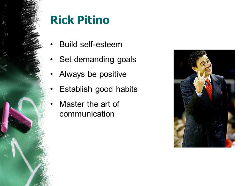 Rick Pitino Build self-esteem Set demanding goals Always be positive Establish good habits Master the art of communication