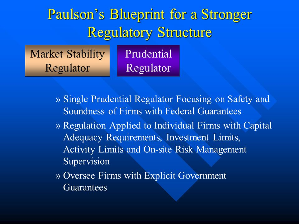 Paulson's Blueprint for a Stronger Regulatory Structure »Single Prudential Regulator Focusing on Safety and Soundness of Firms with Federal Guarantees »Regulation Applied to Individual Firms with Capital Adequacy Requirements, Investment Limits, Activity Limits and On-site Risk Management Supervision »Oversee Firms with Explicit Government Guarantees Prudential Regulator Market Stability Regulator