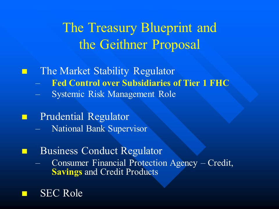 The Treasury Blueprint and the Geithner Proposal The Market Stability Regulator –Fed Control over Subsidiaries of Tier 1 FHC –Systemic Risk Management Role Prudential Regulator –National Bank Supervisor Business Conduct Regulator –Consumer Financial Protection Agency – Credit, Savings and Credit Products SEC Role