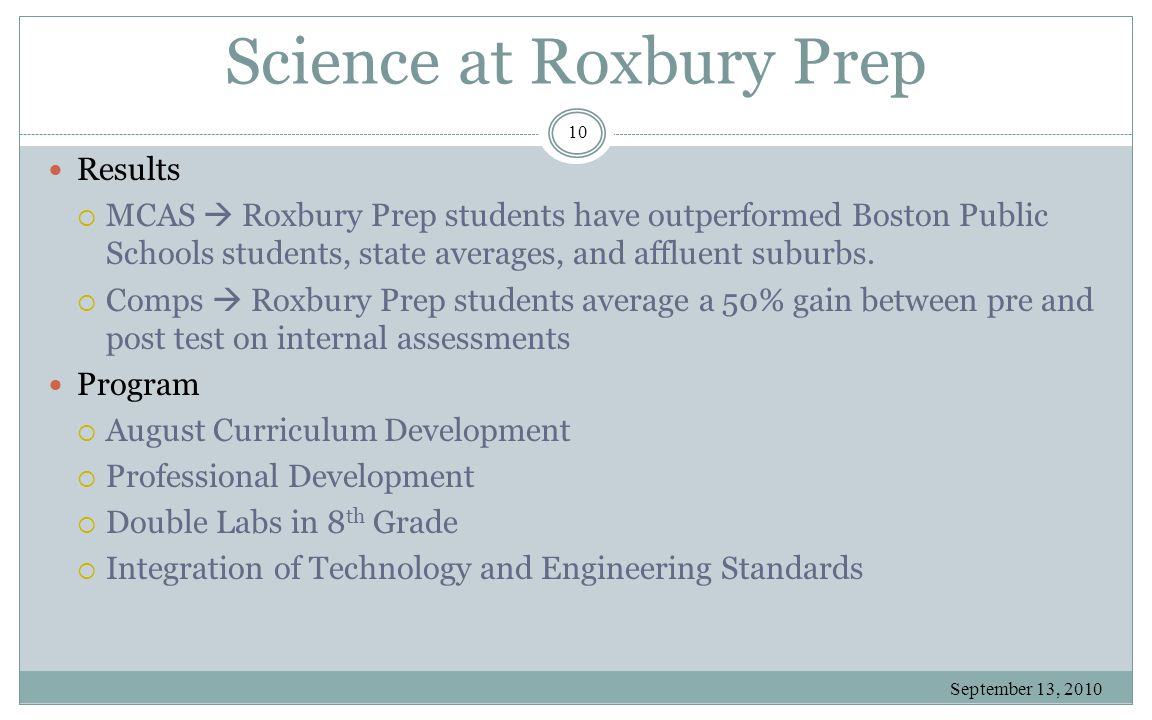 Science at Roxbury Prep September 13, 2010 10 Results  MCAS  Roxbury Prep students have outperformed Boston Public Schools students, state averages,