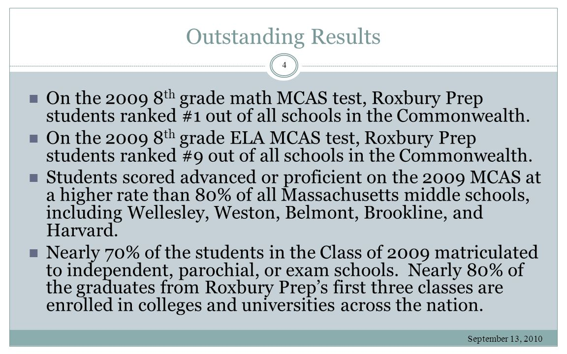 Outstanding Results September 13, 2010 4 On the 2009 8 th grade math MCAS test, Roxbury Prep students ranked #1 out of all schools in the Commonwealth