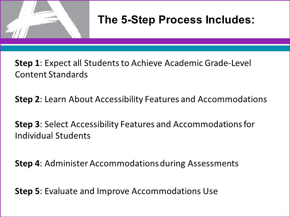 34 The 5-Step Process Includes: Step 1: Expect all Students to Achieve Academic Grade-Level Content Standards Step 2: Learn About Accessibility Features and Accommodations Step 3: Select Accessibility Features and Accommodations for Individual Students Step 4: Administer Accommodations during Assessments Step 5: Evaluate and Improve Accommodations Use