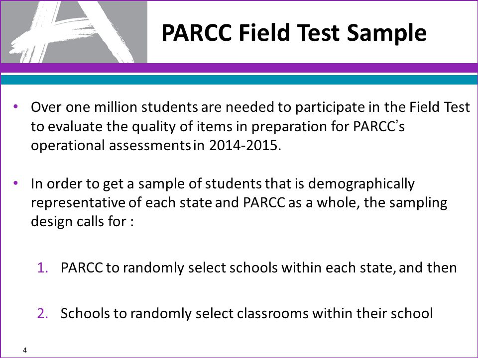 Over one million students are needed to participate in the Field Test to evaluate the quality of items in preparation for PARCC's operational assessments in 2014-2015.
