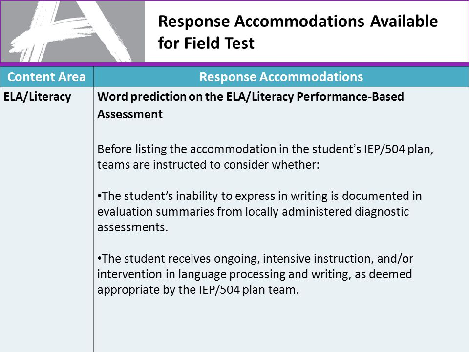 Response Accommodations Available for Field Test 47 Content AreaResponse Accommodations ELA/LiteracyWord prediction on the ELA/Literacy Performance-Based Assessment Before listing the accommodation in the student's IEP/504 plan, teams are instructed to consider whether: The student's inability to express in writing is documented in evaluation summaries from locally administered diagnostic assessments.