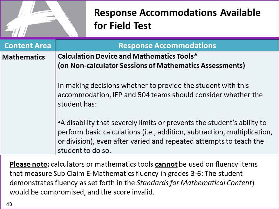 Response Accommodations Available for Field Test Please note: calculators or mathematics tools cannot be used on fluency items that measure Sub Claim E-Mathematics fluency in grades 3-6: The student demonstrates fluency as set forth in the Standards for Mathematical Content) would be compromised, and the score invalid.