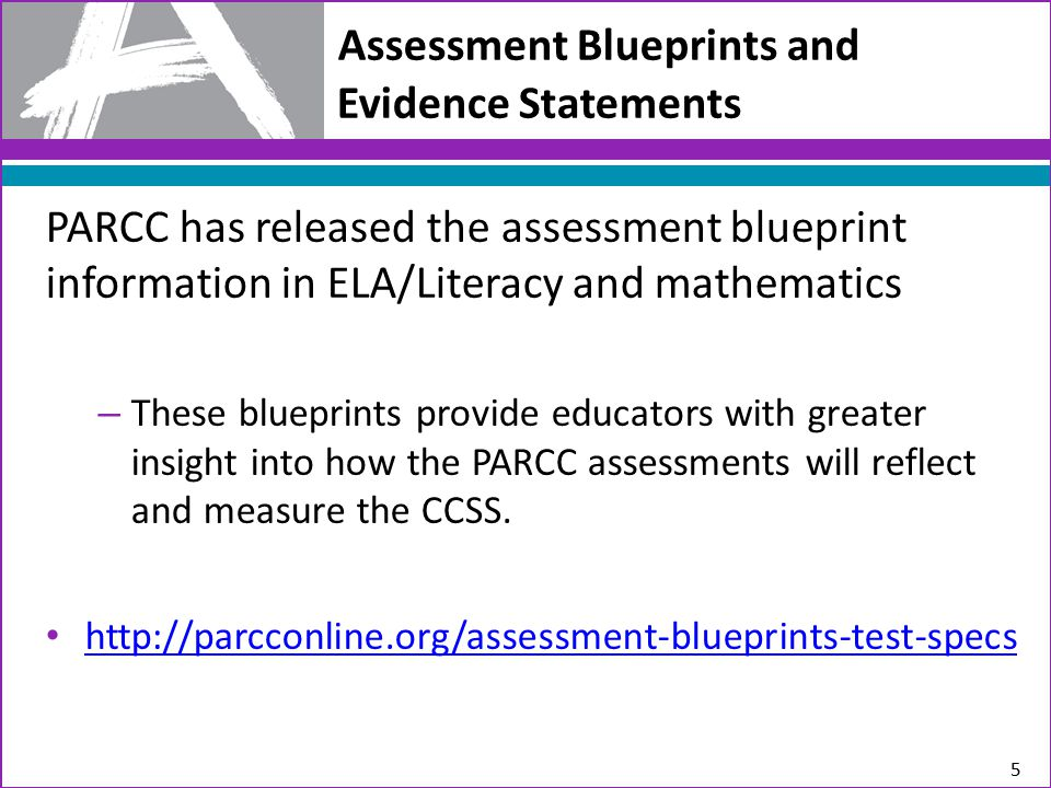 Assessment Blueprints and Evidence Statements PARCC has released the assessment blueprint information in ELA/Literacy and mathematics – These blueprints provide educators with greater insight into how the PARCC assessments will reflect and measure the CCSS.