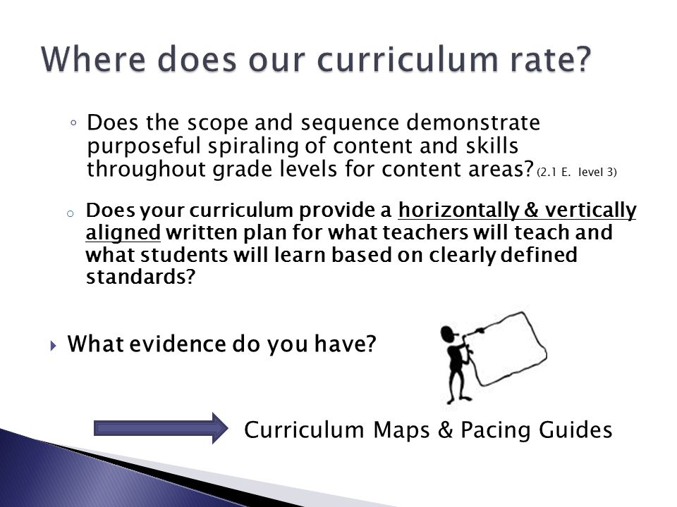 ◦ Does the scope and sequence demonstrate purposeful spiraling of content and skills throughout grade levels for content areas.