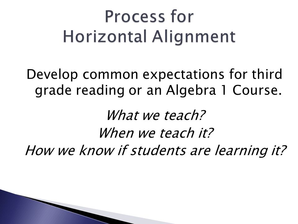 Develop common expectations for third grade reading or an Algebra 1 Course.