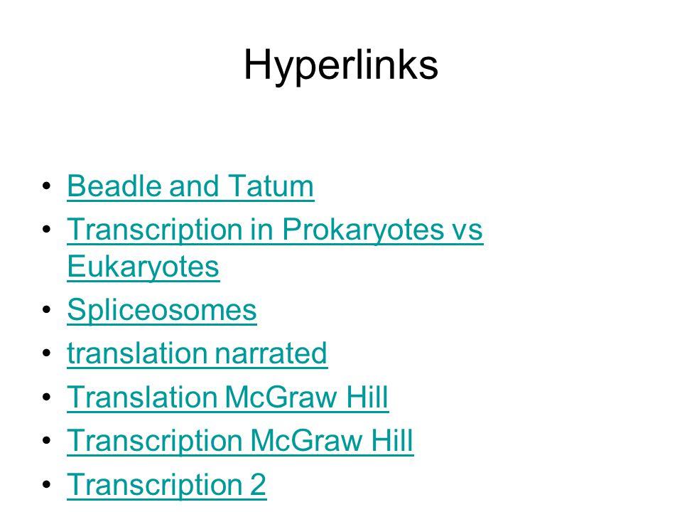 Hyperlinks Beadle and Tatum Transcription in Prokaryotes vs EukaryotesTranscription in Prokaryotes vs Eukaryotes Spliceosomes translation narrated Translation McGraw Hill Transcription McGraw Hill Transcription 2
