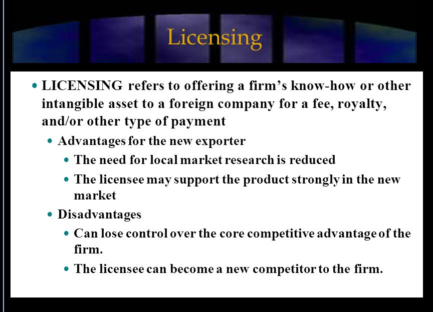 Franchising A form of licensing where the franchisee in a local market pays a royalty on revenues - and sometimes an initial fee - to the franchisor who controls the business and owns the brand.
