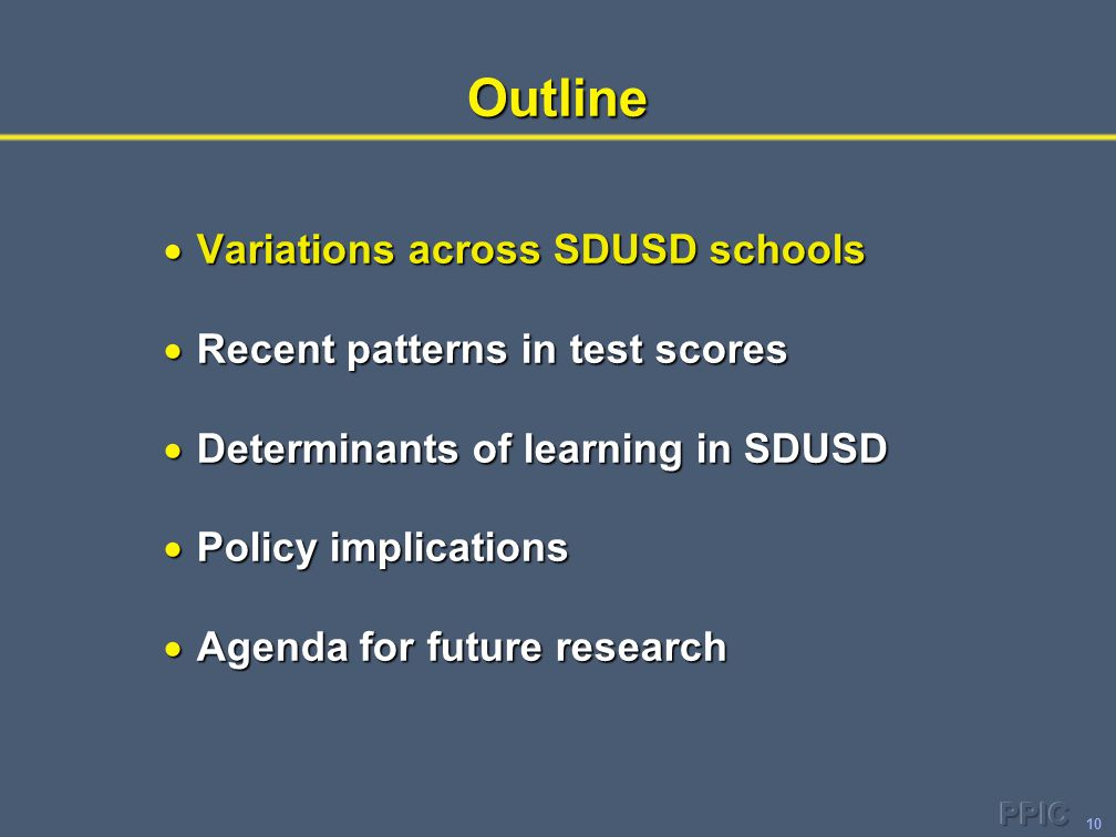 10Outline  Variations across SDUSD schools  Recent patterns in test scores  Determinants of learning in SDUSD  Policy implications  Agenda for fu