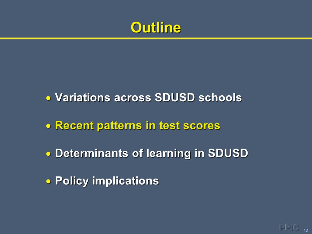12Outline  Variations across SDUSD schools  Recent patterns in test scores  Determinants of learning in SDUSD  Policy implications