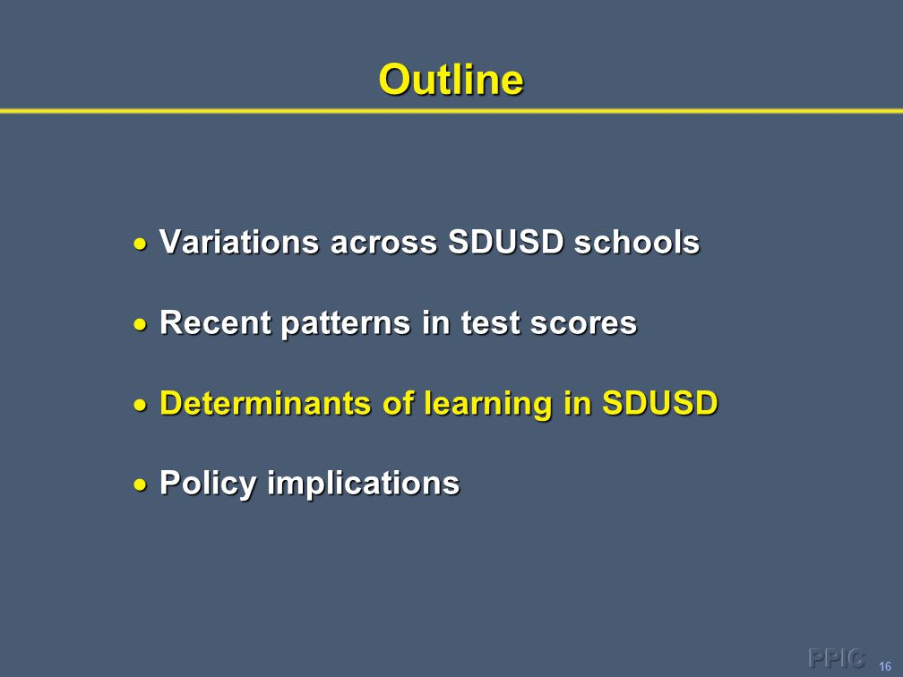 16Outline  Variations across SDUSD schools  Recent patterns in test scores  Determinants of learning in SDUSD  Policy implications