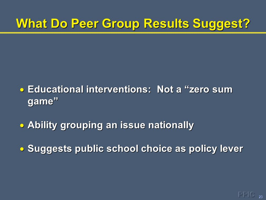 "23 What Do Peer Group Results Suggest?  Educational interventions: Not a ""zero sum game""  Ability grouping an issue nationally  Suggests public sch"