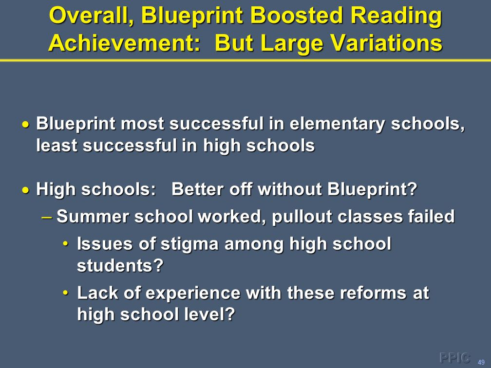 49 Overall, Blueprint Boosted Reading Achievement: But Large Variations  Blueprint most successful in elementary schools, least successful in high sc