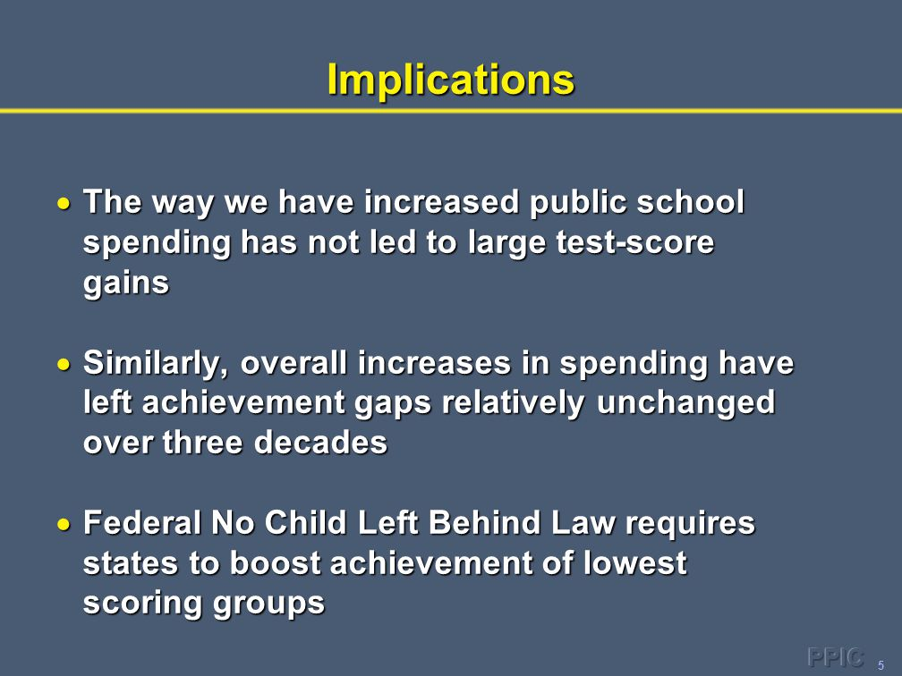 5Implications  The way we have increased public school spending has not led to large test-score gains  Similarly, overall increases in spending have