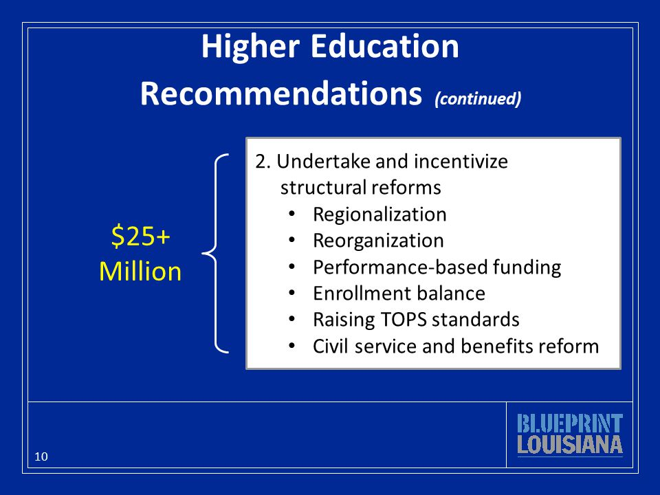 Higher Education Recommendations (continued) 10 2.