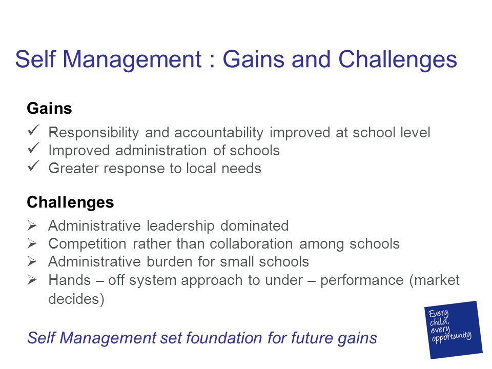 Self Management : Gains and Challenges Gains Responsibility and accountability improved at school level Improved administration of schools Greater res