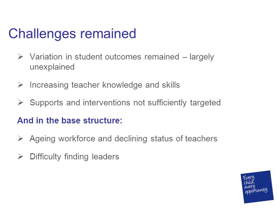 Challenges remained  Variation in student outcomes remained – largely unexplained  Increasing teacher knowledge and skills  Supports and interventions not sufficiently targeted And in the base structure:  Ageing workforce and declining status of teachers  Difficulty finding leaders