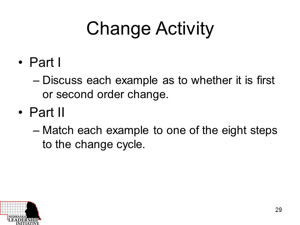 29 Change Activity Part I –Discuss each example as to whether it is first or second order change.
