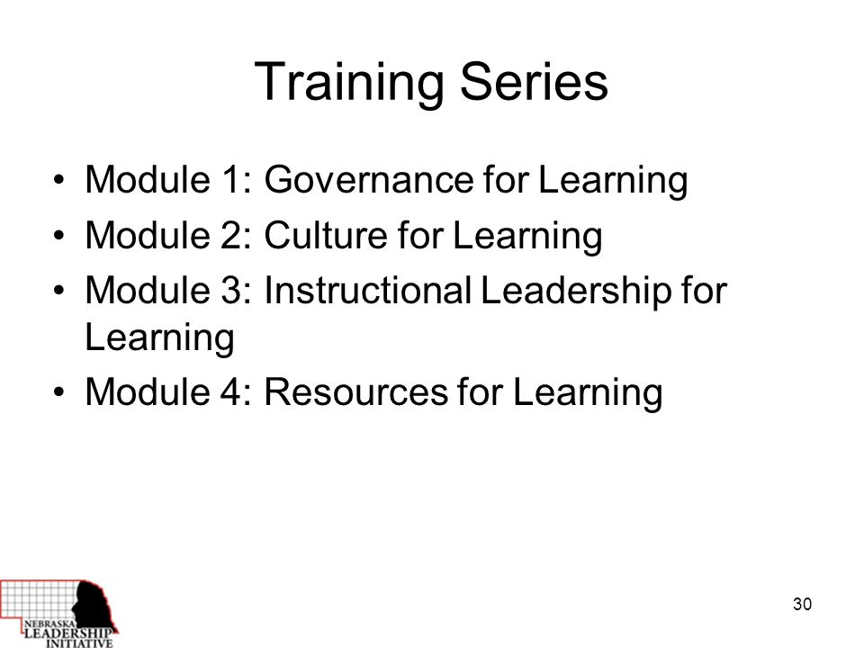 30 Training Series Module 1: Governance for Learning Module 2: Culture for Learning Module 3: Instructional Leadership for Learning Module 4: Resources for Learning