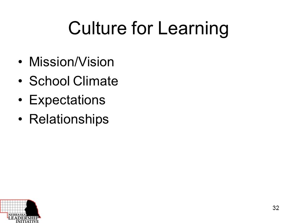 32 Culture for Learning Mission/Vision School Climate Expectations Relationships