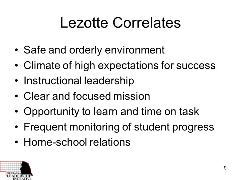 9 Lezotte Correlates Safe and orderly environment Climate of high expectations for success Instructional leadership Clear and focused mission Opportunity to learn and time on task Frequent monitoring of student progress Home-school relations