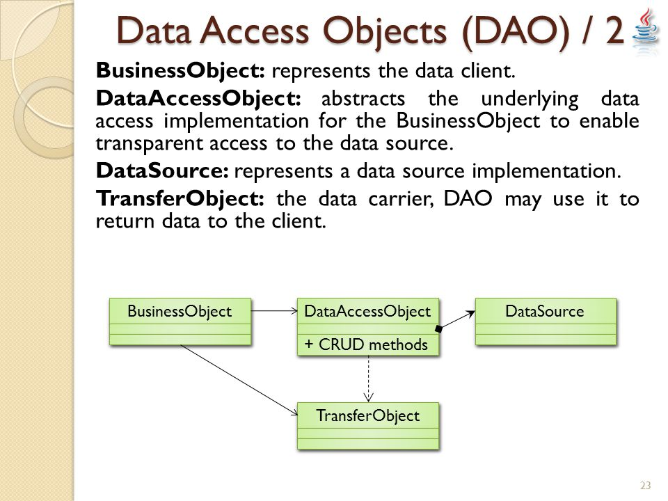 Data Access Objects (DAO) / 2 BusinessObject: represents the data client.