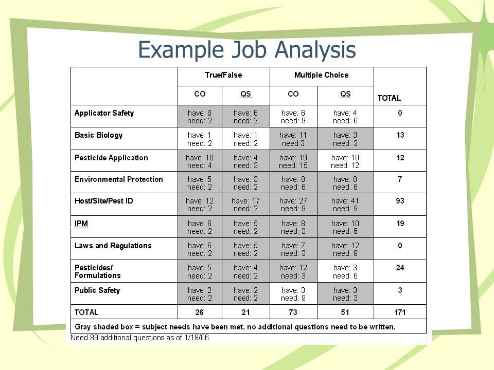 Example Job Analysis