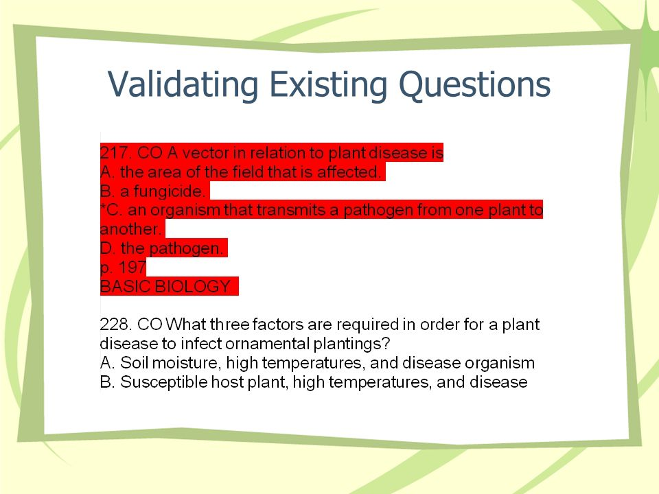 Validating Existing Questions