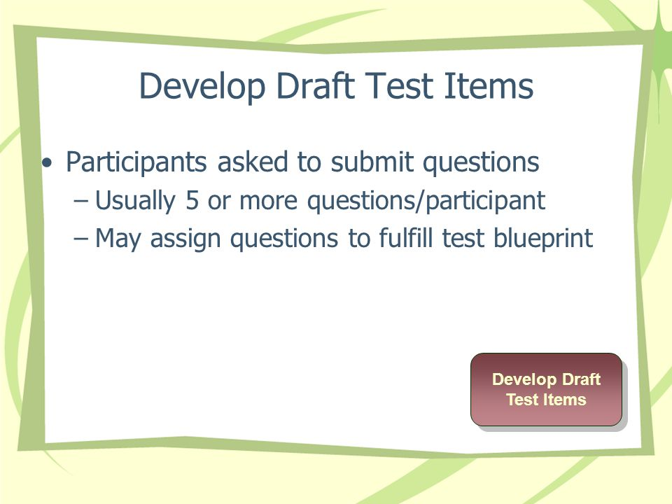 Develop Draft Test Items Participants asked to submit questions –Usually 5 or more questions/participant –May assign questions to fulfill test blueprint Develop Draft Test Items Develop Draft Test Items