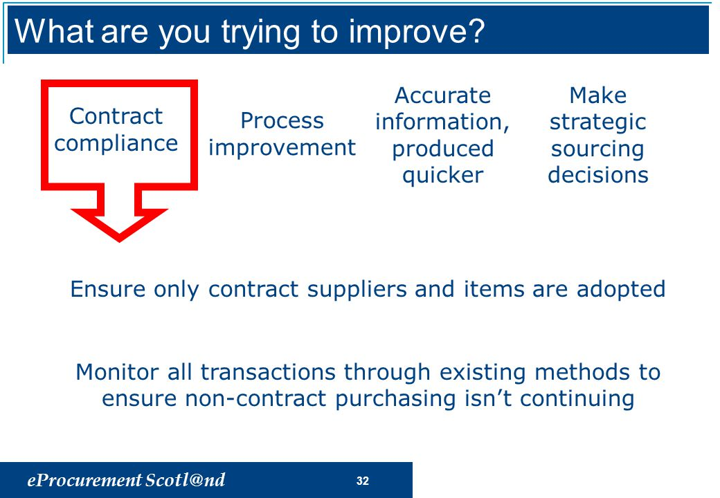 eProcurement Scotl@nd 32 Process improvement Accurate information, produced quicker Make strategic sourcing decisions Contract compliance Ensure only contract suppliers and items are adopted Monitor all transactions through existing methods to ensure non-contract purchasing isn't continuing What are you trying to improve