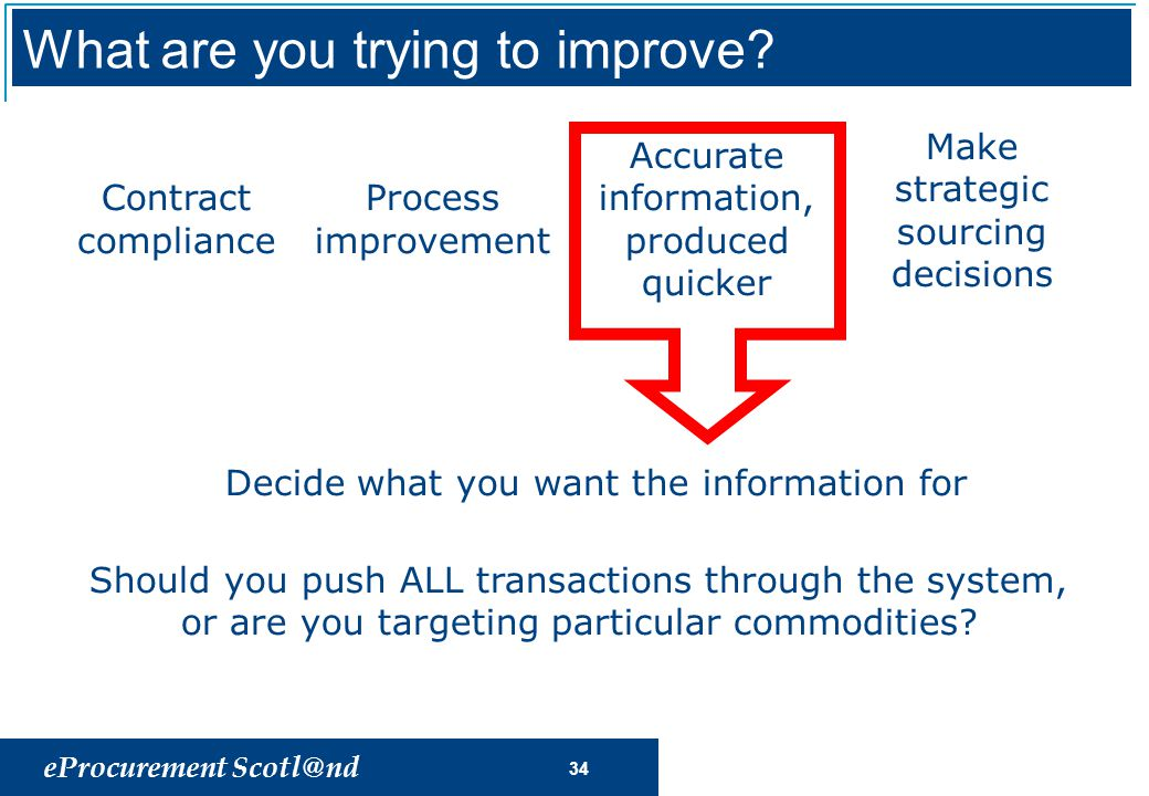 eProcurement Scotl@nd 34 Process improvement Accurate information, produced quicker Make strategic sourcing decisions Contract compliance Decide what you want the information for Should you push ALL transactions through the system, or are you targeting particular commodities.