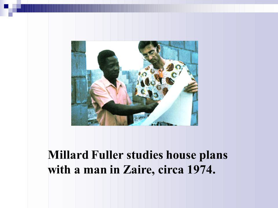Millard Fuller studies house plans with a man in Zaire, circa 1974.